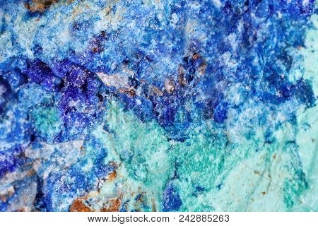 Mineral Azurite. The Texture Of The Mineral. Macro Shooting Of Natural Gemstone. The Raw Mineral. Ab