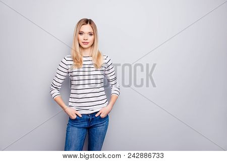 Portrait With Copy Space, Empty Place For Advertisement Of Pretty, Charming, Nice, Cute Woman Holdin