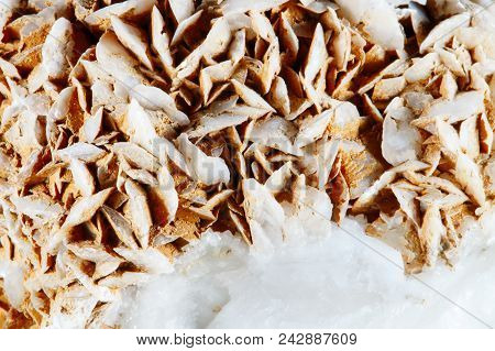 Mineral Quartz With Calcite. The Texture Of The Mineral. Macro Shooting Of Natural Gemstone. The Raw