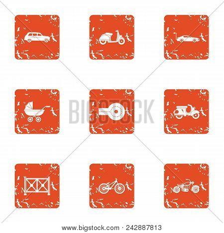 Motor Vehicles Icons Set. Grunge Set Of 9 Motor Vehicles Vector Icons For Web Isolated On White Back