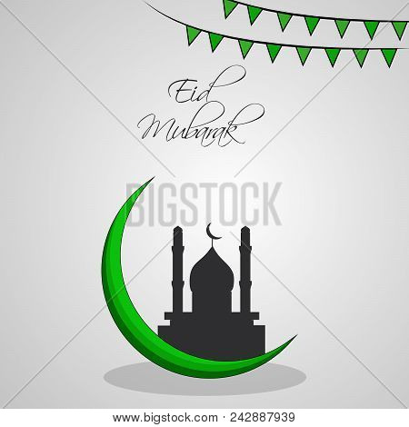 Illustration Of Mosque And Banner With Eid Mubarak Text On The Occasion Of Muslim Festival Eid