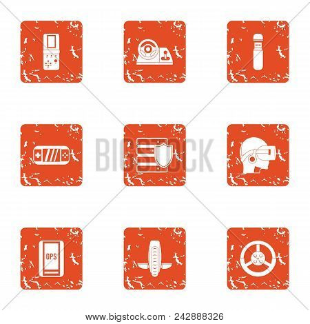 Transistor Icons Set. Grunge Set Of 9 Transistor Vector Icons For Web Isolated On White Background