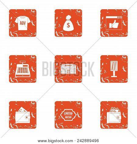 Ad Money Icons Set. Grunge Set Of 9 Ad Money Vector Icons For Web Isolated On White Background