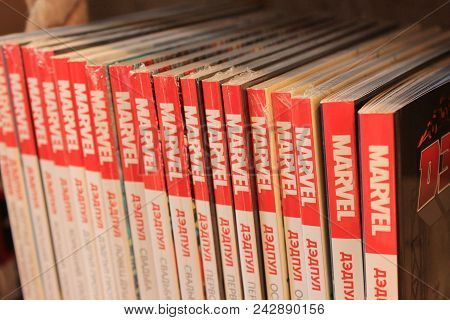 St. Petersburg, Russia - May 19, 2018: Marvel Comic Books In Row Close Up View. Many Various Comic B
