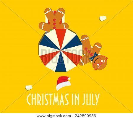 Christmas In July Vector Illustration: Summer Beach Parasols, Gingerbread Men, Santa Hat And Text Ch