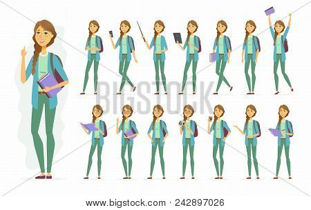 Female Student - Vector Cartoon People Character Set Isolated On White Background. Pretty Girl In Ca