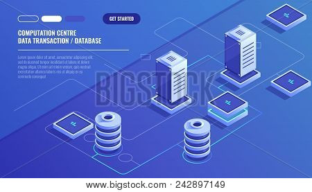 Computation Of Big Data Center, Information Processing, Database. Internet Traffic Routing, Server R
