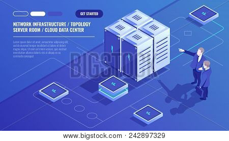 Network Infrastructure, Server Room Topology, Cloud Data Center, Two Businessman, Data Analysis And