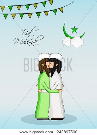 Illustration Of Banner, Moon And Muslim Men With Eid Mubarak Text On The Occasion Of Muslim Festival