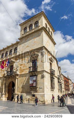 Historic Building Palacio De Los Guzmanes Palace In Leon, Spain