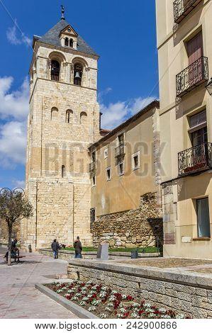 Leon, Spain - April 16, 2018: Tower Of The Basilica De San Isidoro In Leon, Spain