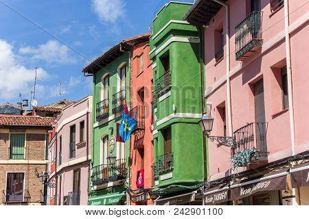 Leon, Spain - April 16, 2018: Colorful Facades In The Historic Center Of Leon, Spain