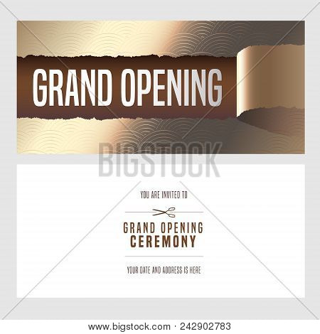 Grand opening vector vector photo free trial bigstock grand opening vector illustration invitation card for new shop template banner invite for opening ceremony paper tearing off design element altavistaventures Gallery