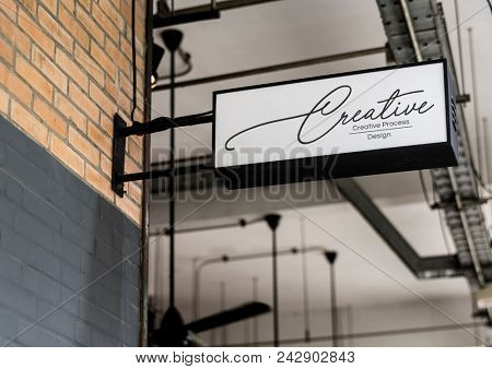 White signage on the wall mockup