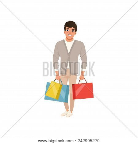 Smiling Guy Standing With Shopping Bags In Hands. Sale In Store. Cartoon Character Of Young Man In S