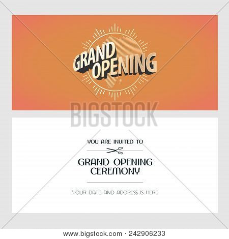 Grand Opening Vector Illustration, Invitation Card For New Store. Template Banner, Invite For Openin