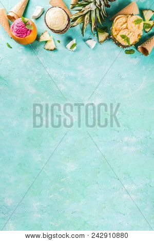 Various Tropical Ice Cream Sorbet