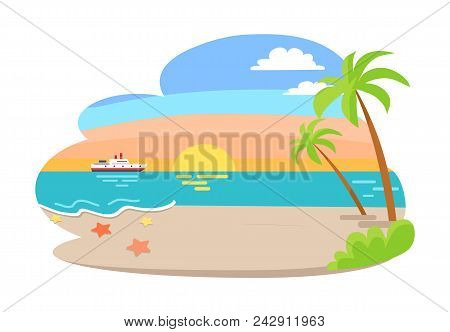 Tropical View Of Summer Seaside, Summer And Seaside With Sunrise, Palm Tree And Bush, Starfish On Sa