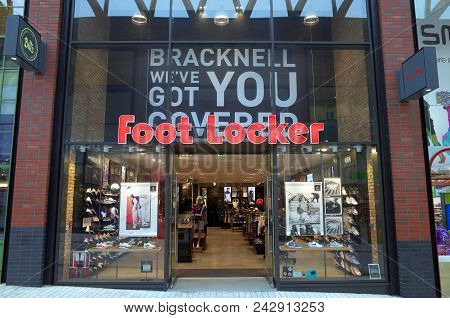 Bracknell, England - May 30, 2018: Exterior Of The Foot Locker Store In Bracknell, England. The Foot