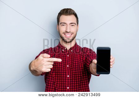 Satisfied Client Is Showing Smartphone With Replaced Glass. Portrait Of Excited Glad Satisfied Amaze