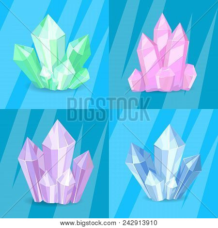 Variety Of Green Pink Purple Blue Crystals Precious Stones, Realistic Minerals Transparent Crystals
