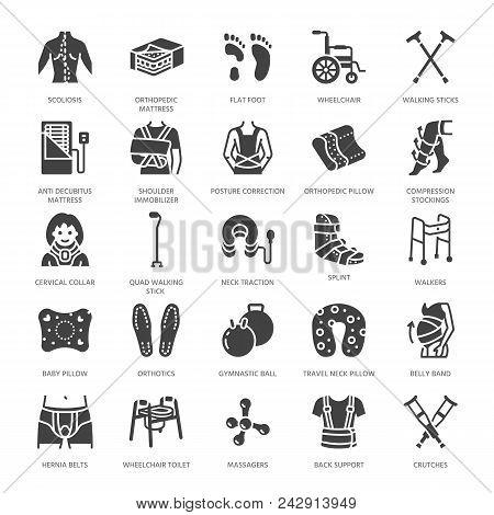 Orthopedics, Trauma Rehabilitation Glyph Icons. Crutches, Mattress Pillow, Cervical Collar, Walkers,