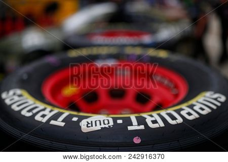 May 24, 2018 - Concord, North Carolina, USA: Goodyear Racing Tires sit in the garage before practice for the Coca-Cola 600 at Charlotte Motor Speedway in Concord, North Carolina.