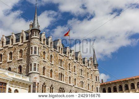 Leon, Spain - April 16, 2018: Historic Casa De Los Botines Building In Leon, Spain, Designed By Gaud
