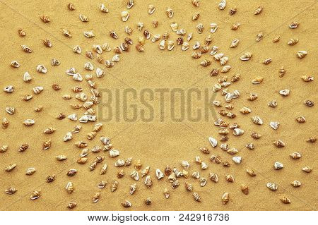 Circle Frame Made Of Tiny Sea Shells On Beach Sand Background. Mini Small Shells On Sand With Empty