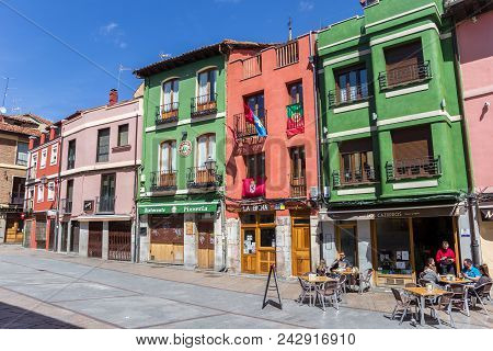 Leon, Spain - April 16, 2018: People Having A Drink At Colorful Pubs In Leon, Spain