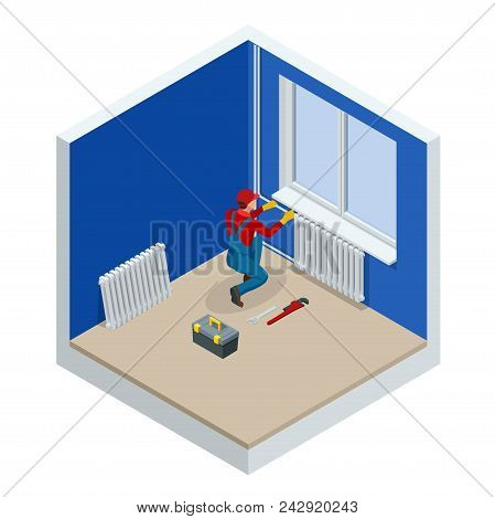 Isometric Professional Plumber Worker Installing Heating Radiator In An Empty Room Of A Newly Built