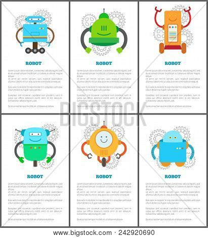 Robot And Innovation Set Text Sample And Information Title And Robot With Gears, Creatures Collectio