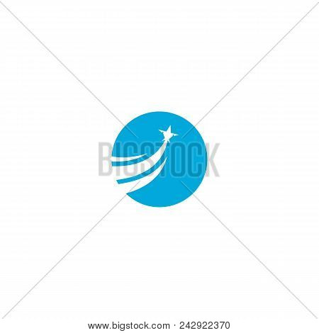 Travel Logo With Jet Plane, Plain Blue Circle  With White Jet Plane Zooming Upwards With Vapor Trail
