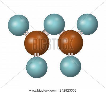 3d Molecule Of P2o5. Phosphorus Oxide. Phosphoric Anhydride. Vector Illustration.