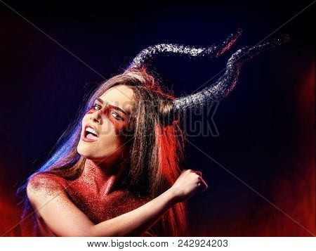Black magic ritual of mad satan woman cry in hell on Halloween. Witch reincarnation mythical creature on Sabbath. Astral travel. Mythical zodiac Horoscope Capricorn Aries, Taurus astrology. poster