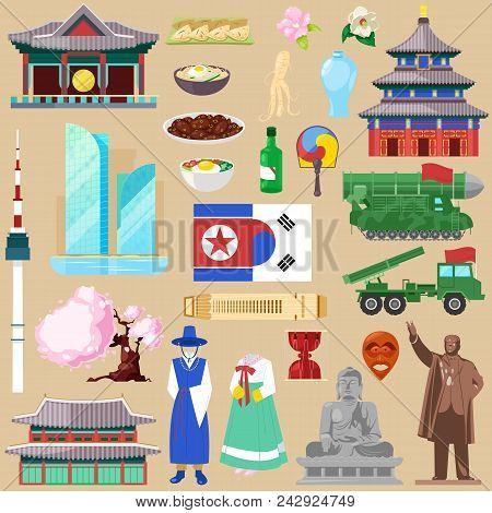 Korea Vector Korean Traditional Culture Symbol Of Southkorea Or Northkorea Country Illustration Tour