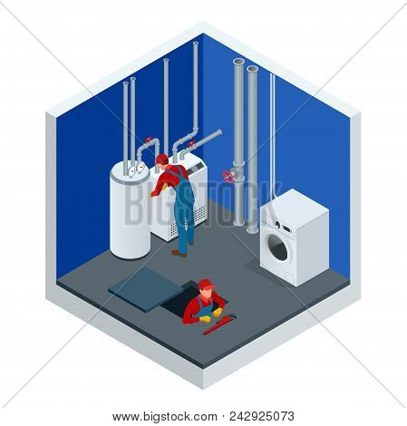 Isometric Condensing Boiler Gas In The Boiler Room. Worker Set Up Central Gas Heating Boiler At Home