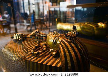 CAIRO, EGYPT - JANUARY 02 2016 : Tutankhamen's Coffin in Egyptian Museum in Cairo.