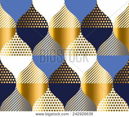 Navy Blue And Gold Luxury Geometry Pattern. Seamless Pattern Vector Illustration For Background, Fab