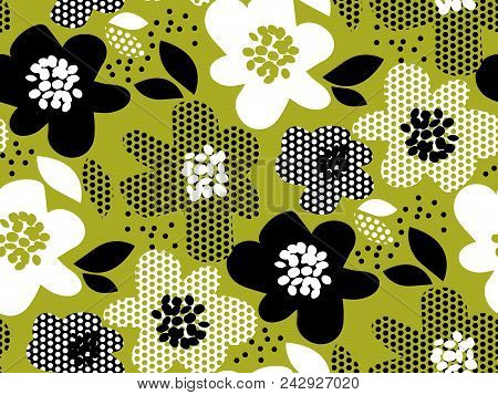 Tropical Leaves And Flowers Monochrome Pattern. Nature Floral Stock Vector Illustration. Concept Sea