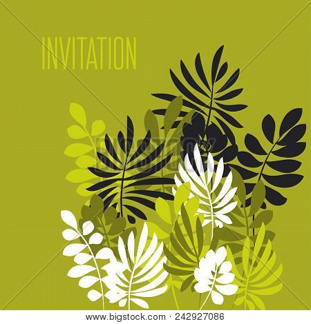 Tropical Leaves Monochrome Pattern. Nature Floral Stock Vector Illustration. Summer Adventure Card T
