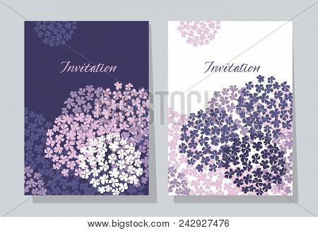 Violet Hydrangea Round Bouquet Card Template. Floral Stock Vector Illustration. Abstract Hydrangea F