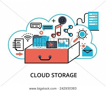 Modern Flat Thin Line Design Vector Illustration, Concept Of Cloud Computing Storage, Protect Comput
