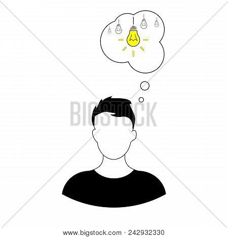Man Thinks Of An Idea. Idea Icon Isolated On White Background. Idea Sign, Solution, Thinking Concept