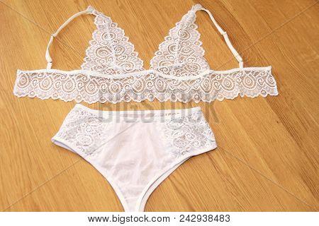 White Lingerie Set. Panties And Sconces, Handmade Lingerie.