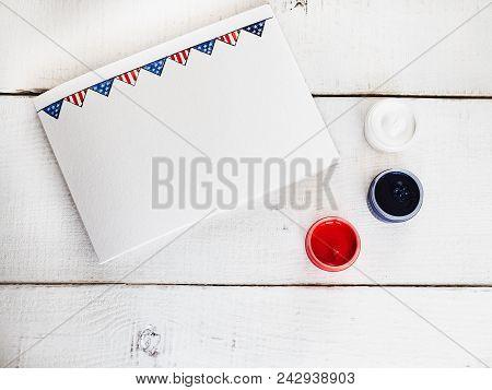 Blank Card With A Us Flag Pattern For Your Congratulations On National Us Holidays And Gouache Paint