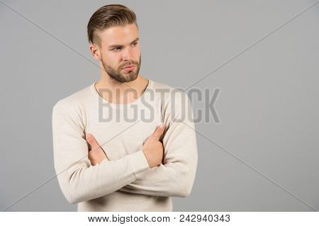 Hair Care In Barber Salon Or Barbershop. Guy In Fashionable Tshirt. Man With Beard On Unshaven Face.
