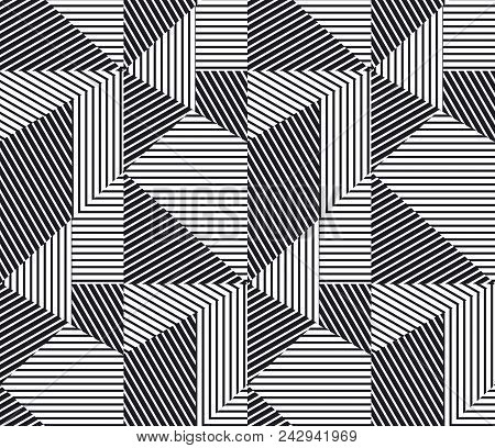 Complex Geometric Stripes Seamless Pattern. Abstract Geometry Lines Repeatable Motif For Background,