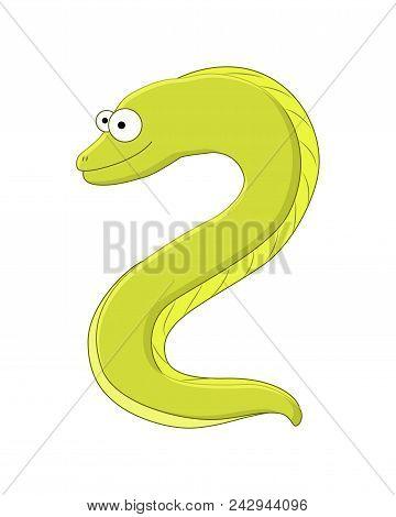 Cute Cartoonmoray Eel. Sea Animal. Vector Illustration Isolated On White Background.
