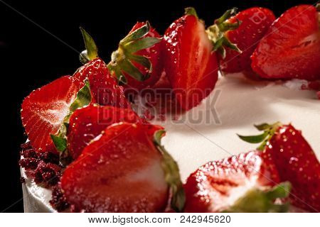 Cheesecake With Strawberries. Cake Decorated With Strawberries. Delicious Cheesecake Decorated With